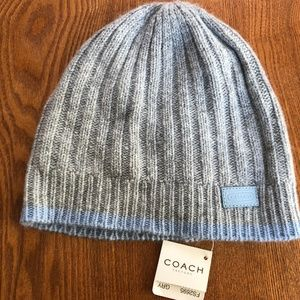 NWT Coach Gray & Light Blue Wool Hat